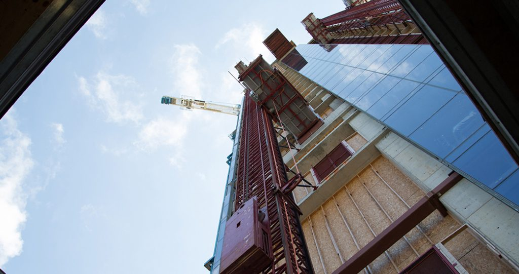 Image of Hilton construction looking up